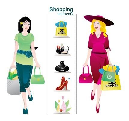 Cartoon Shopping Girl Elements Vector