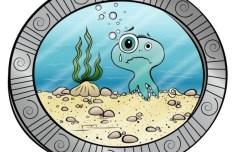 Lovely Cartoon Submarine and Octopus