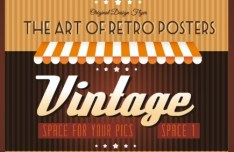 Vintage Promotional Poster Vector Template Design 01