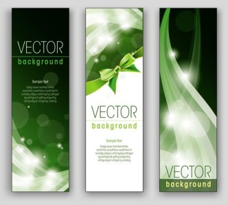 3 Blue and Vertical Banners with Beautiful Backgrounds Vector
