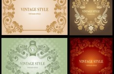 Simple Vintage Style Vector Floral Frames and Borders