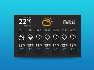 Flat Dark Weather Widget UI PSD
