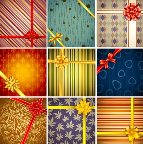 Vector Creative Holiday Backgrounds With Bows and Ribbons 01