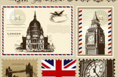 Vector Stamp and Postcard Set Of London Symbols 02