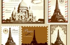 Vector Stamp and Postcard Set Of Parisian Symbolics