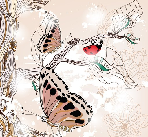 Classical Watercolor Painting Flower and Butterfly Background 02