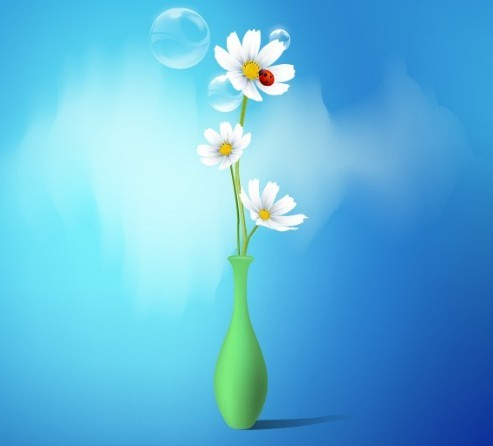 Clean Vector Flower and Vase Illustration