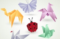 Vector Colorful Origami Animals
