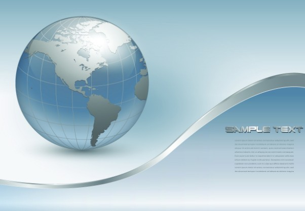 Vector Silver Earth with Wave Background 03
