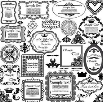 Vector Vintage Floral Border and Corner Design Elements 04