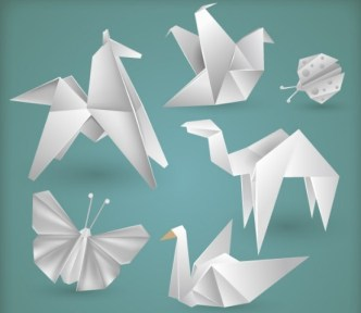 Vector White Origami Animals