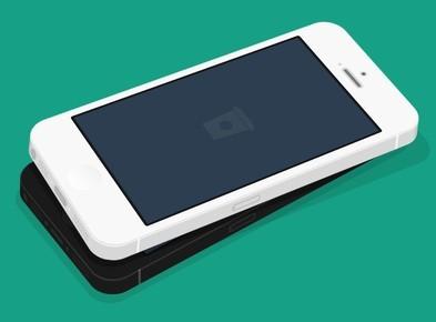 Flat iPhone 5 3D MockUp PSD