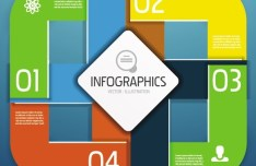 Vector Colorful Inforgraphic Step Circle Elements 01