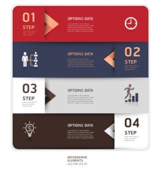Vector Colorful Inforgraphic Step Circle Elements 05