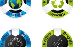 Blue and Green ECO Concept Vector Stickers