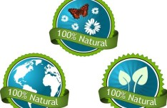 Green 100% Natural Concept Vector Sticker Labels