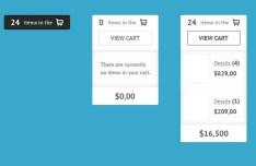 Clean Shopping Cart Widget Interface PSD