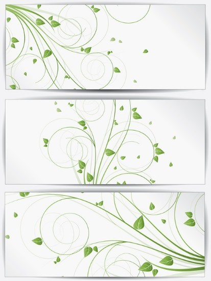 Set Of Clean Green Floral Vector Banners