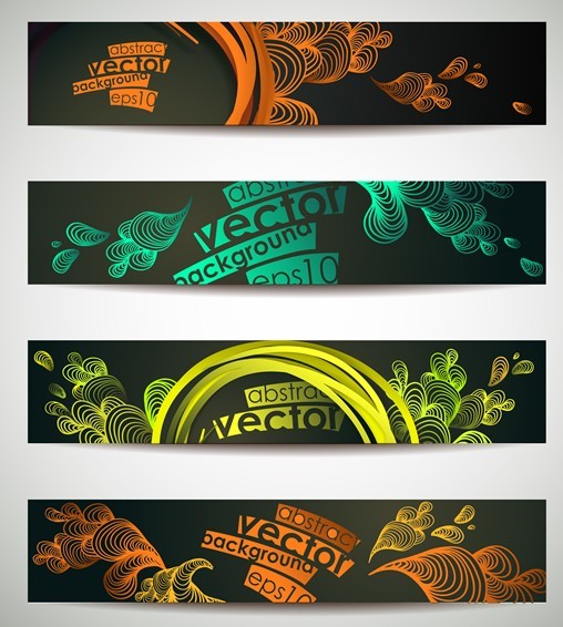 Set Of Vector Colorful Banners with Abstract Backgrounds