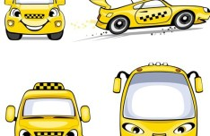 Vector Yellow Cab Sticker Labels 01