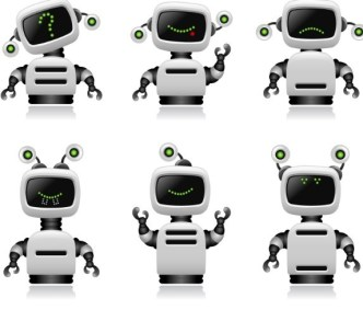 Cute Intelligent Robot Vector Design Materials 01