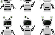 Cute Intelligent Robot Vector Design Materials 01