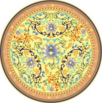 Retro Porcelain Plate with Floral Background