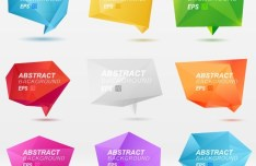 Colorful 3D Crystal-Like Speech Bubble Vector