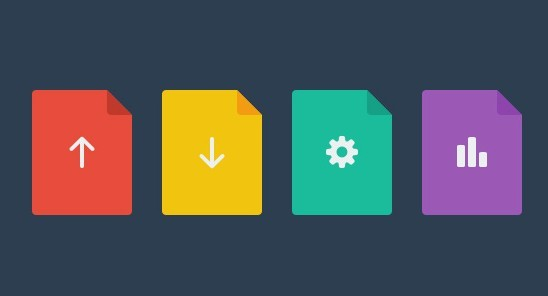 Colorful Flat File Icons PSD