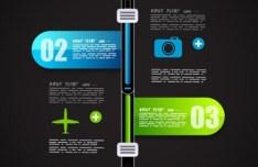 Dark Vector Infographic Data Display Elements 01