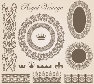 Vector Vintage Royal Floral Design Elements 05