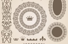 Vector Vintage Royal Floral Design Elements 05