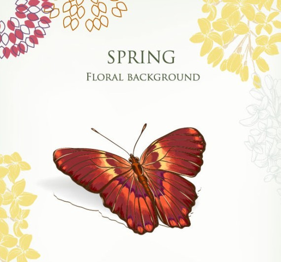 Vintage Spring Floral and Butterfly Background 04