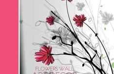 Classical Hand-Drawn Vector Flower Wall Background 01