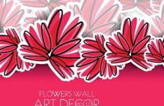 Classical Hand-Drawn Vector Flower Wall Background 02