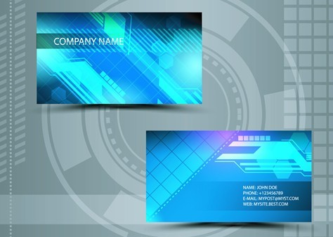 Free Clean Technology Business Card Design Template Vector - Technology business card templates