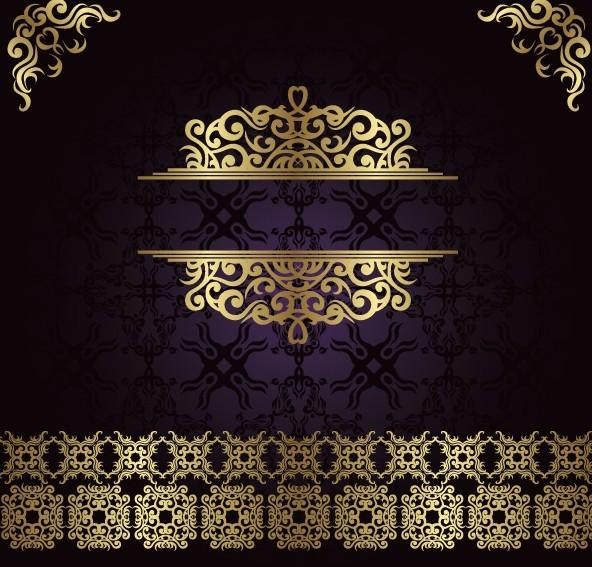 Golden Royal Floral Pattern Background Vector 01