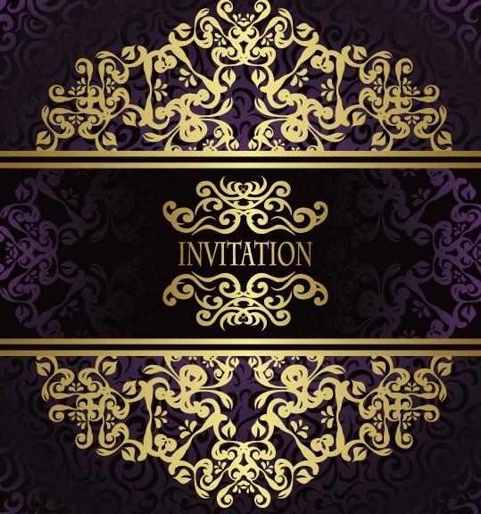 Golden Royal Floral Pattern Background Vector 03