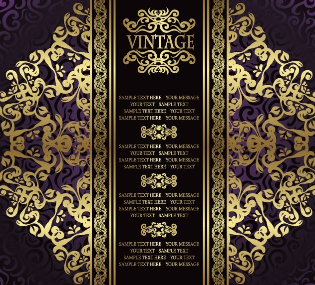 Golden Royal Floral Pattern Background Vector 04