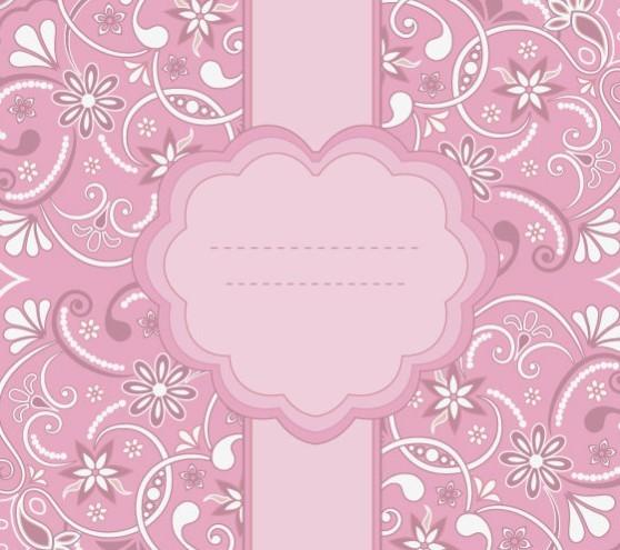 Pink Vintage Floral Pattern Background 03