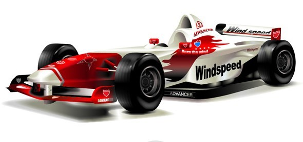 Red and White Vector F1 Car