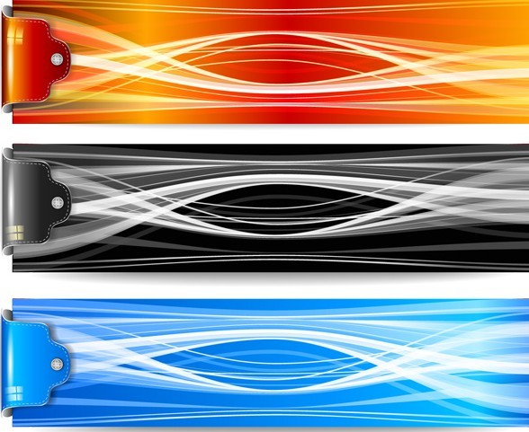 Colorful Abstract Lines Banners Vector 01