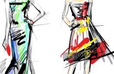 Vector Sketch Fashion Girl 02