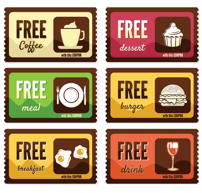 free vintage free food coupon sticker labels vector