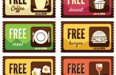 Vintage Free Food Coupon Sticker Labels Vector