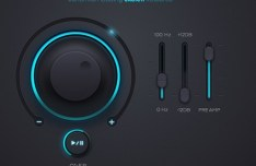 Dark LED Music Player UI Kit PSD