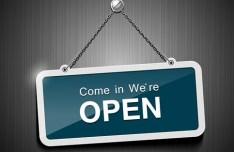 Elegant Metal Store Now Open Sign Vector