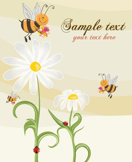 Fresh and Clean Spring Flower and Insect Background 02