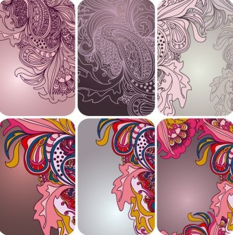 Set Of Vector Vintage Floral Card Design Templates 01