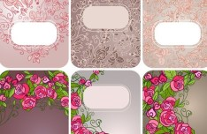 Set Of Vector Vintage Floral Card Design Templates 02